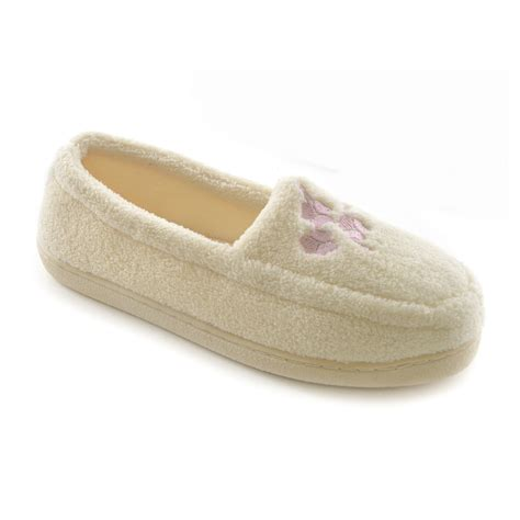 fleece slippers womens floral embroidered terry fleece indoor house