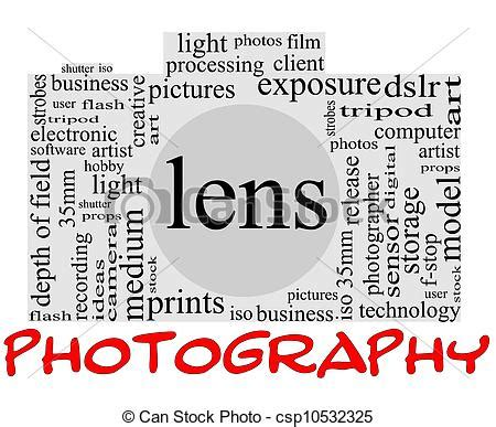clip art of photography word concept in camera shape