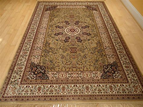 silk rugs knotted fringes 8x10 beige