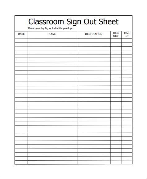 book sign out sheet template sle classroom sign out sheet 8 free documents