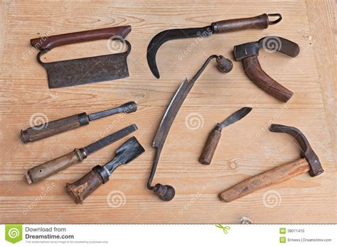ancient woodworking tools wood carving tools stock photo image 38071410