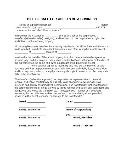 Sle Contract Letter For Businesses Corporate Bill Of Sale Agreement Hashdoc