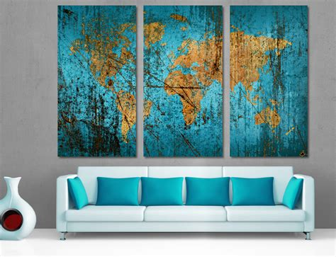 Home Office Design Review Panel Munsell Blue Abstract World Map Canvas Print Wall Art Multi
