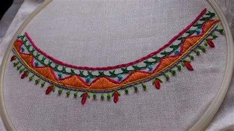 hand embroidery boat neck embroidery design youtube - Boat Neck Embroidery Youtube