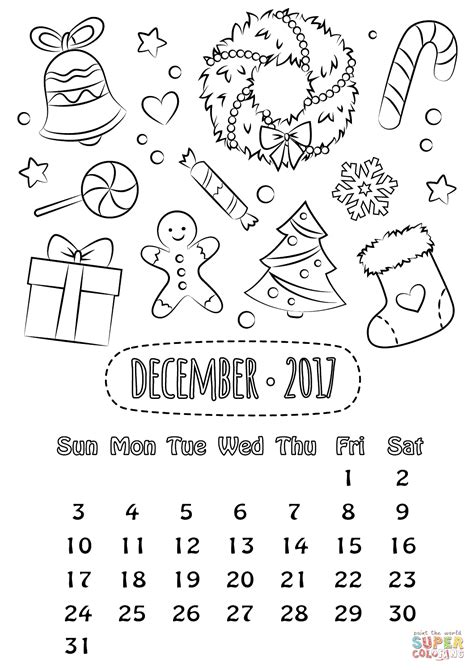 december calendar coloring pages dibujo de calendario diciembre 2017 para colorear