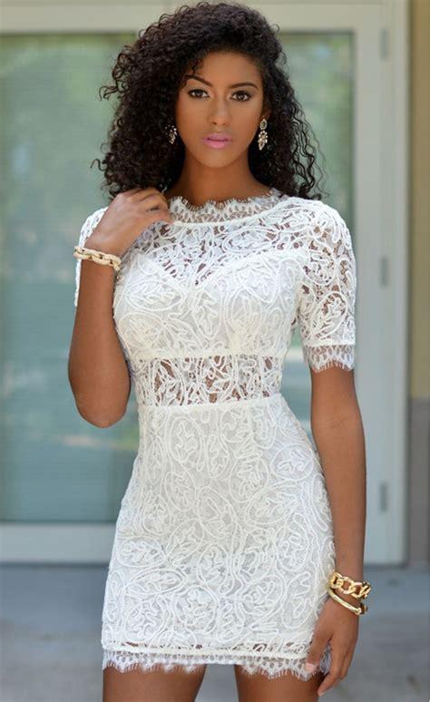 White Crochet Lace V Back Mini Dress   Stella Dolls