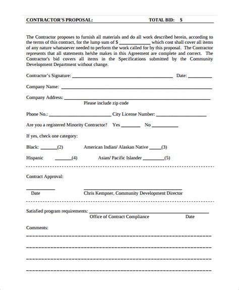 contractor proposal template 11 free word document