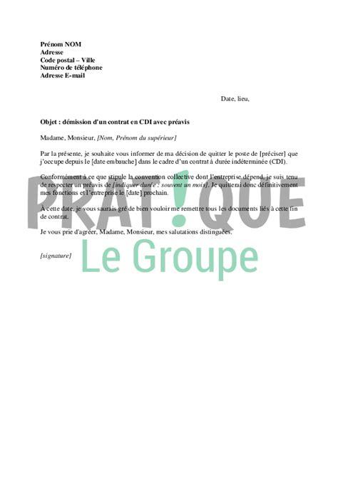 Modèle Lettre De Démission Cdi Avec Préavis lettre de d 233 mission d un cdi application letter