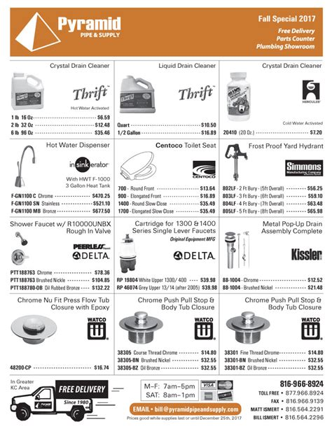 Pyramid Plumbing Supply by Pyramid Pipe Supply Plumbing Sales Flyer Fall 2017 Pg4
