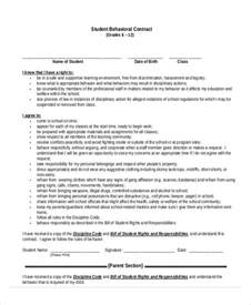 student contracts templates student agreement contract sle 7 exles in word pdf