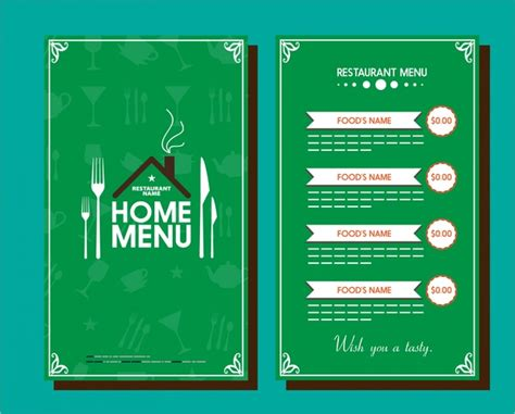 restaurant menu template vignette design on green