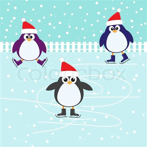 ice skating cute penguins stock vector colourbox