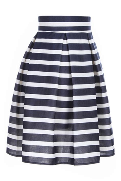 Navy Stripes Skirt abaday abaday stripe print high waist pleated flared