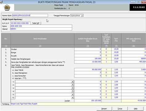 membuat database espt pph 23 membuat spt masa dan bukti potong pph pasal 23 menggunakan