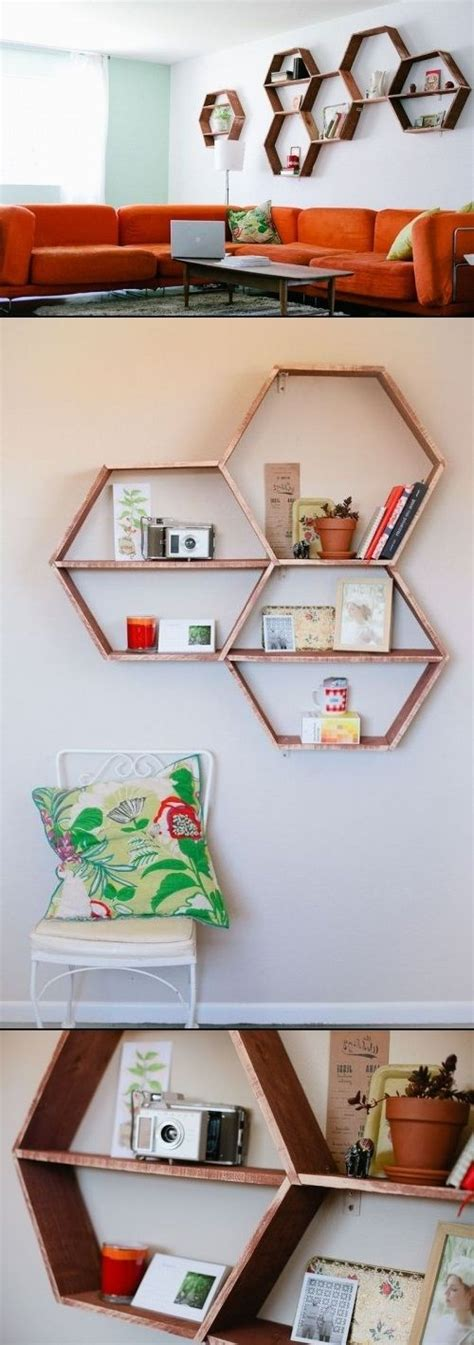 cool diy honeycomb shelves diy wall decor pinterest