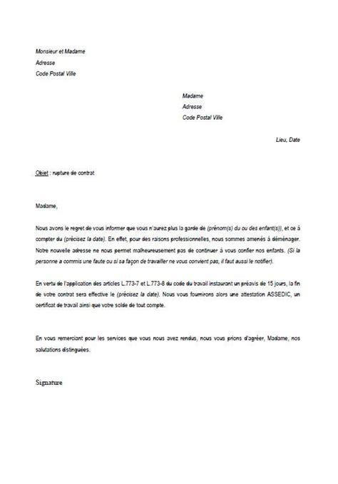 Modele Lettre Fin De Contrat Nounou
