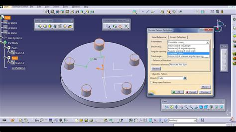 user pattern definition catia circular pattern catia v5 youtube