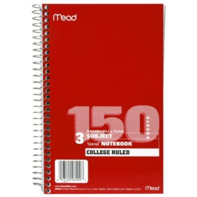 mead mea spiral bound notebook perforated college