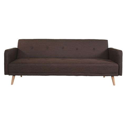 brown material sofa bed adeco brown 3 seat fabric futon sofa bed sf0015