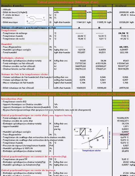 diagramme de l air humide excel centrale traitement d air bypass factor bhs batterie