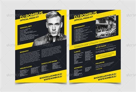 Rombus Dj Resume Press Kit Psd Template By Vinyljunkie Graphicriver Free Press Kit Template Psd