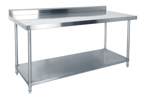 stainless steel bench kss 2400mm bench w shelf underneath and splashback
