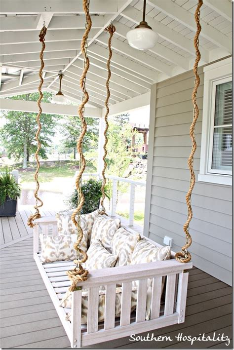 how to hang a porch swing with chain southern living idea house nashville southern hospitality