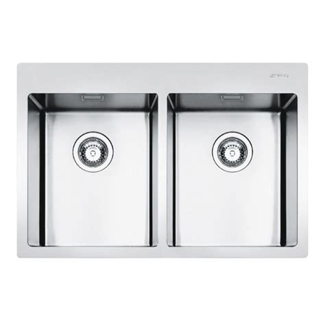 Smeg Kitchen Sinks Smeg Lft3434rs Mira Kitchen Sink 2 Bowls Brushed Stainless Steel Fl