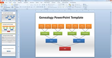 How To Make A Genealogy Powerpoint Presentation Using Shapes Family Tree Chart Template Powerpoint