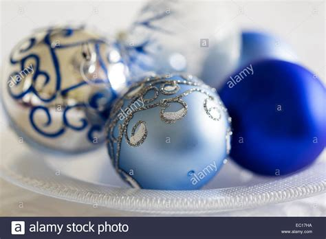 silver and white decorations blue silver and white decorations stock photo