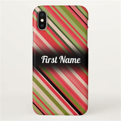 watermelon inspired stripes w custom name iphone x plus