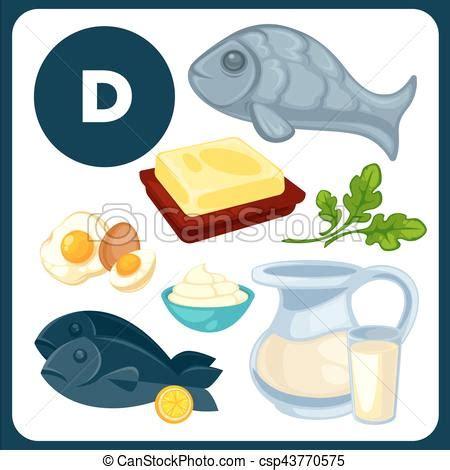alimento vitamina d alimento ilustraciones vitamina d d conjunto pez
