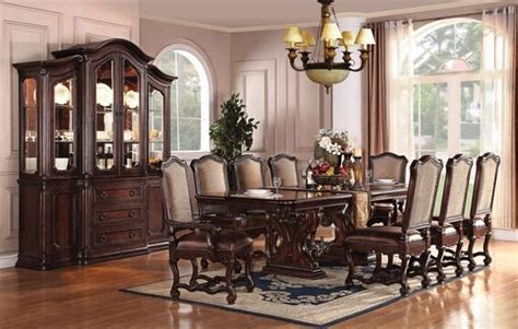 acme 5 pc hennessy collection cherry brown finish wood 7 pc delphia cherry brown finish wood double pedestal