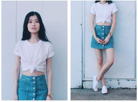 c calvin klein white t shirt topshop denim skirt