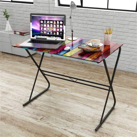 glass top home office desk  rainbow pattern cm buy desks