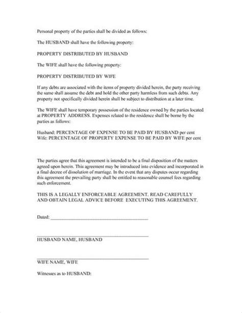 Divorce Letter Format Pdf India Image Gallery Divorce Agreement