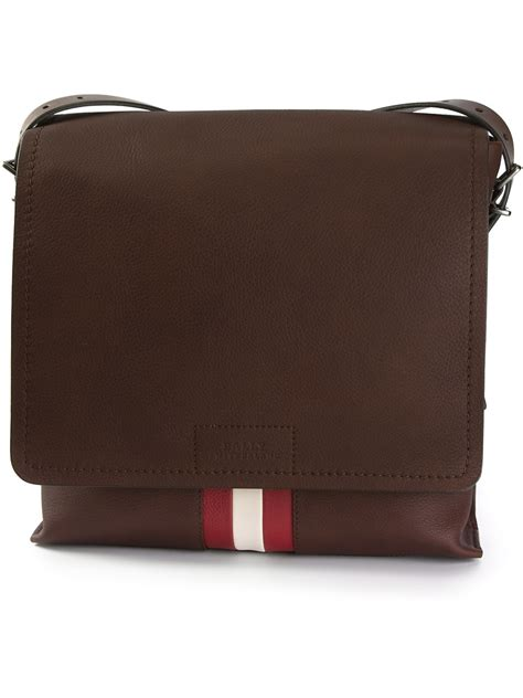 Dompet Bally Brown Stripe Original bally contrast stripe messenger bag in brown for lyst