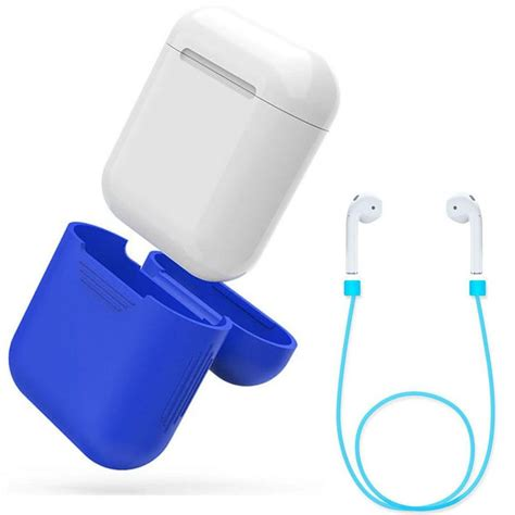 Barang Berkualitas Anti Lost For Apple Airpods Blue Stok neworldline silicone protective cover wire anti lost for apple airpods earphones blue