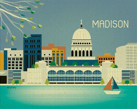 home decor stores madison wi madison wisconsin skyline gift art poster print by loosepetals