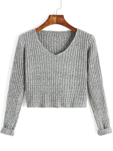 Crop V grey v neck sleeve crop sweater shein sheinside