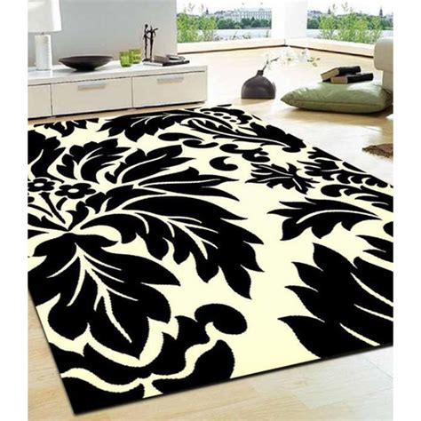 Network Viva Modern Leave Black White Contemporary Rug Modern Rugs Reviews