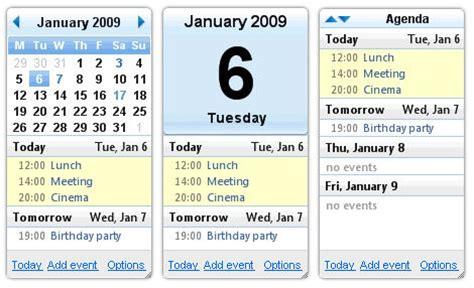 Desktop Calendar Widget Calendar Gadget Calendar Template 2016