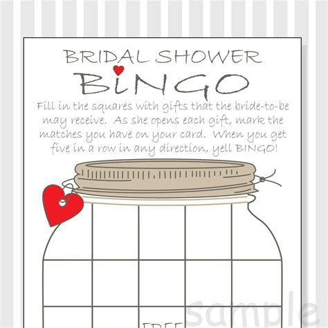 Free Printable Bridal Shower Gift Bingo Cards - bridal shower bingo printable cards gift bingo rustic