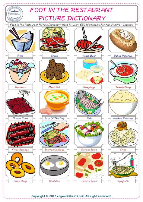 food dictionary food in the restaurant picture dictionary word to learn esl worksheets for and
