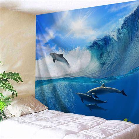dolphin bedroom surfing dolphin wall hanging bedroom tapestry in ocean