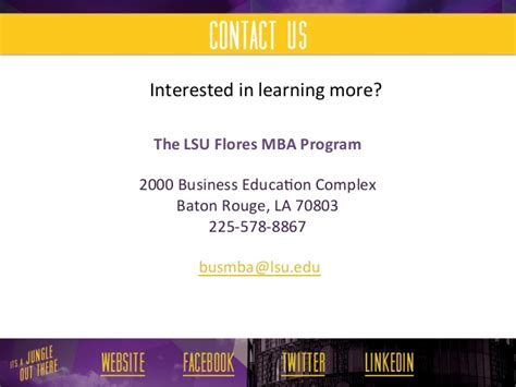 Lsus Mba Courses by Lsu Flores Mba Program Career Services