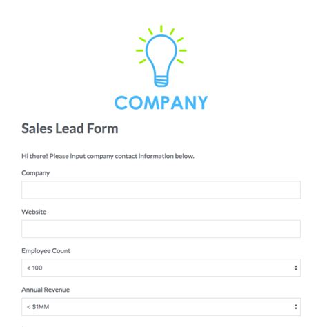 Business Form Design Templates Lead Capture Template