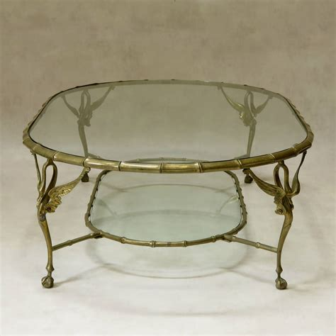 02539d Oval Swan Coffee set of five brass and glass quot swan quot coffee tables 1950s for sale at 1stdibs