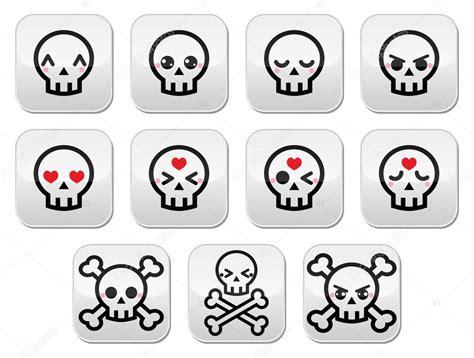 imagenes de calaveras kawaii conjunto de botones de calavera de halloween lindo kawaii