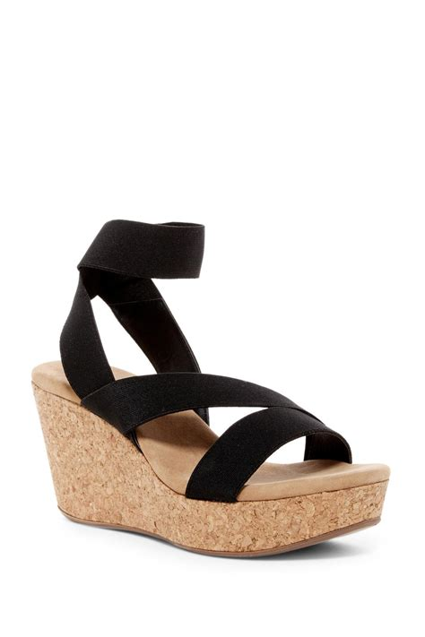 elastic sandals splendid gavin elastic wedge sandal in black lyst